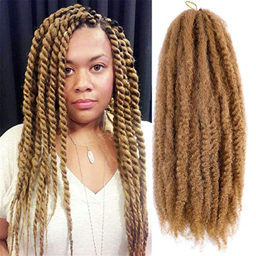 6 Packs Marley Hair Marley Braiding Hair Marley Braid Crochet Hair Long Afro Kinky Curly Hair For Faux Locs or twist Synthetic Fiber Hair Extensions (18 INCH, 27#)
