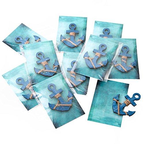 20 stuks kleine blauwe anker gastgeschenken give of give away maritiem met turquoise kaart in folie klaar verpakt als tafeldecoratie om mee te nemen voor gasten bruiloft communie verjaardag seminar