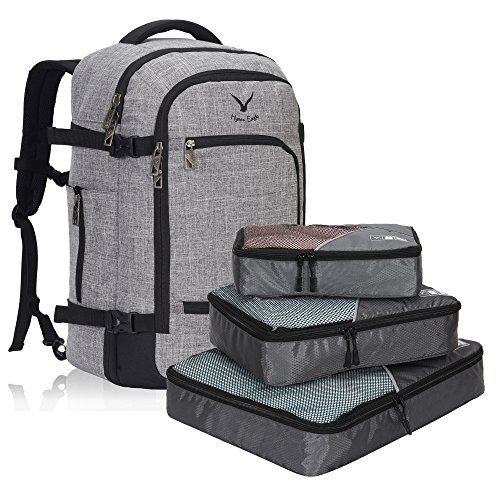 Hynes Eagle Travel Backpack 40L Flight Approved Carry on Backpack Light Grey with 3PCS Packing Cubes 2017