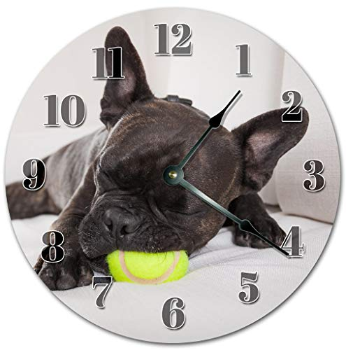 Sugar Vine Art Black French Bulldog Silent Non Ticking Round Battery Operated Handmade Hanging Large10.5 Inch Wall Clock for Bedroom Office Cottage Decoration