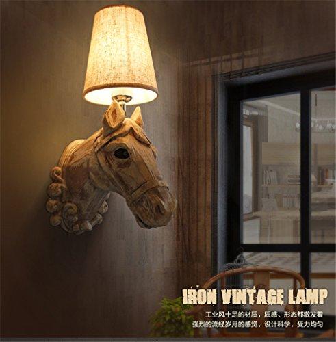 YU-K eenvoudige vintage slaapkamer wandlamp creatieve woonkamer eetkamer licht gang lichten hars paarden koplamp retro hotel bar café tuin nachtkastje wandlamp