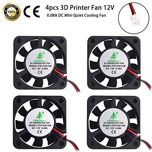 MakerFocus 4pcs 3D Printer Fan 12V, 40mm 12 Volt Fan 0.08A DC Mini Quiet Cooling Fan 40X40X10mm with 28cm Cable for 3D Printer, DVR and Other Small Appliances Series Repair Replacement