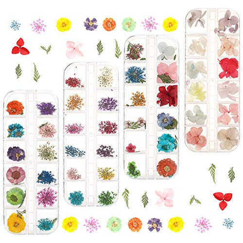 4 Box Nagel Getrocknete Blume 144 Stücke Getrocknete Blumen Nail Art Getrocknete Blumen Nagelkunst Aufkleber 3D Nail Art Sticker für Nägel Dekoration