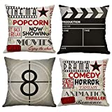 Gspirit 4 Pack Retro Pelicula Algodón Lino Throw Pillow Case Funda de Almohada para Cojín 45x45 cm