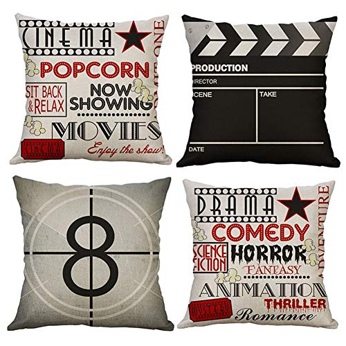 Freeas Set of 4 Movie Pattern Pillow Cases, Throw Cushion Cover Cotton Linen Pillowcase Home Decoration,45x45cm