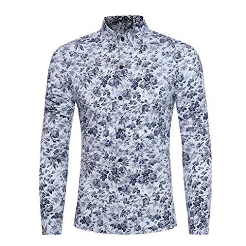 UJUNAOR Persönlichkeit Männer Sommer Casual Slim Langarm Bedruckte Shirt Top Bluse(2XL,Weiß)