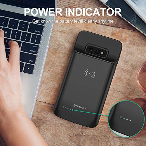 Newdery Upgraded Samsung Galaxy S10E Battery Case Qi Wireless Charging Compatible, 4700mAh Slim Rechargeable Portable Extended Charger Case Compatible for Samsung Galaxy S10E (5.8 Inches Black)