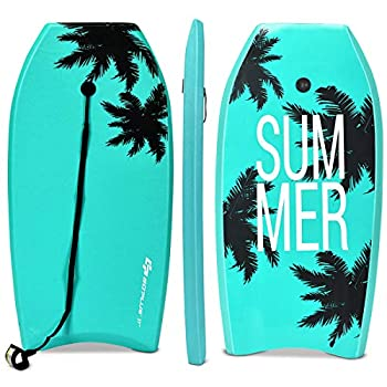 Goplus Body Board Lightweight Bodyboard with EPS Core XPE Deck HDPE Slick Bottom Premium Leash & Adjustable Wrist Rope Perfect Surfing for Kids and Adults  Green Coconut Palm 41