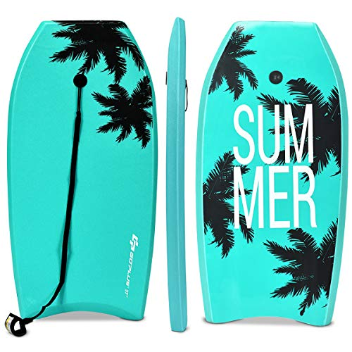 Goplus Super Bodyboard Body Board EPS Core, IXPE Deck, HDPE Slick Bottom with Leash (Green Coconut Palm, 41-inch)