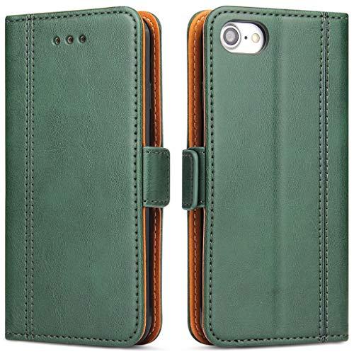 Bozon Handyhülle für iPhone 7/ iPhone 8/ iPhone SE 2020, Lederhülle mit Kartenfächer, Schutzhülle mit Standfunktion, Grün