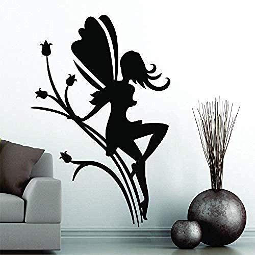Blumenfee mit Flügeln Abnehmbarer Wandaufkleber für Schlafzimmer Mädchen PVC Tapeten Beauty Salon Poster Aufkleber 57 X 87Cm