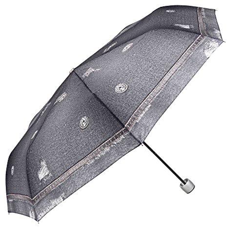 Ombrello Pieghevole Jeans Nero da Donna - Ombrello Mini Portatile Resistente Compatto e Antivento - Ombrellino Leggero da Borsa e Viaggio - Diametro 97 cm - Perletti