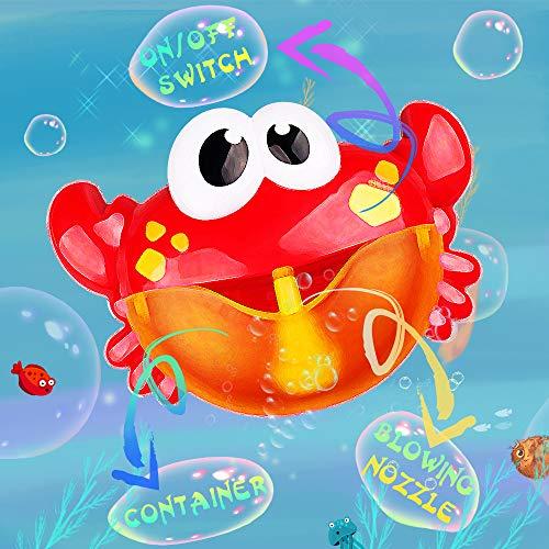 Addmos Juguetes bebé - Juguetes de baño, Maquina de Burbujas 12 Música y Burbuja Automática, para Ducha de Niños Baño de Burbujas