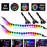 PC RGB LED Strip Light, 2pcs DreamColor Magnetic Addressable LED Strip Light for 5V 3pin ARGB LED headers, Compatible with ASUS Aura SYNC, Gigabyte RGB Fusion, MSI Mystic Light Sync, with More LEDs