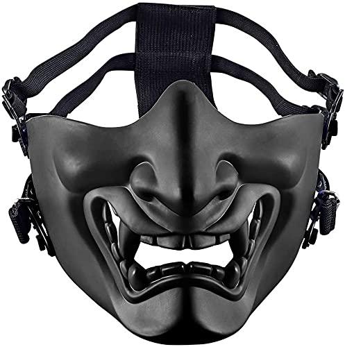 MTGHYAYA Tactical Half Face Masks, Evil Demon Monster Kabuki Samurai Hannya Oni Half Face Protective Masks for Cs War Game Halloweenv Masquerade Ball Party (Black)