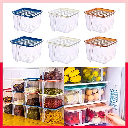 Angel Bear Multipurpose 1600ml, 6 Pcs Fridge Organiser Kitchen Food Storage Container Space Saver Stackable Air Tight Jars Bins with Lids Handle (Unbreakable, Transparent)