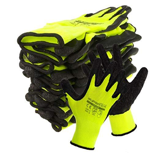 Trevendo 12 paia di guanti da lavoro, guanti da lavoro, guanti da montaggio, guanti da lavoro Super Tech Nylex con rivestimento in lattice, taglia 9