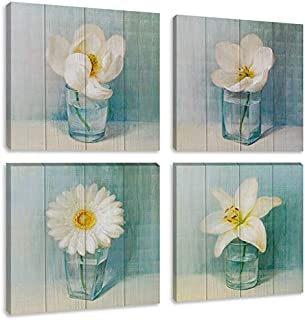 Flower Modern Oil Painting Print on Canvas 4 Panels Artwork Vintage White Lily Daisy Floral Vase Art Picture for Living Room Wall Decor