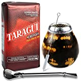 Juego de té mate: Yerba Mate Taragui Energia 0,5 kg | Vaso mate de calabaza (color leopardo), hecho a mano – Kalebasse | Pajita mate de acero inoxidable – Bombilla | Cepillo de limpieza