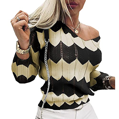 WAEKQIANG Neu V-Neck Hollow Pullover Strick Langarm Pullover Damen