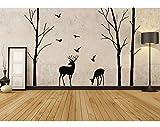 Deer Wall Decal Tree Nursery Muro Bosco Boscaiolo Rimovibile Adesivo Birch Albero Muro Adesivo Uccello Arborità Decal 220 * 217Cm Nero