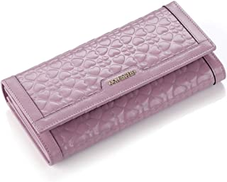 Leather Women's Leather Wallet Long Top Layer Cowhide Leather Clip Casual Purse Card Pack Waterproof (Color : Pink, Size : S)