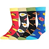 Men's Funny Food Socks Donuts Pizza Taco Egg, 4 Pack Gifts for Food Lovers
