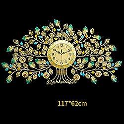 ZXF5 Golden Clear Diamante Beaded Jeweled Wall Clock - Crystal Bling Tree Wall Clock,62117cm