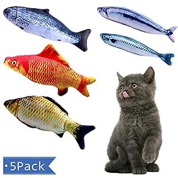 Vockvic 5 Pack Cataire Jouets Poisson, Peluche Molle Interactive Jouets à Mâcher pour Chats Jouets Simulés pour Poissons pour Chat d'intérieur, Chaton et Chiot