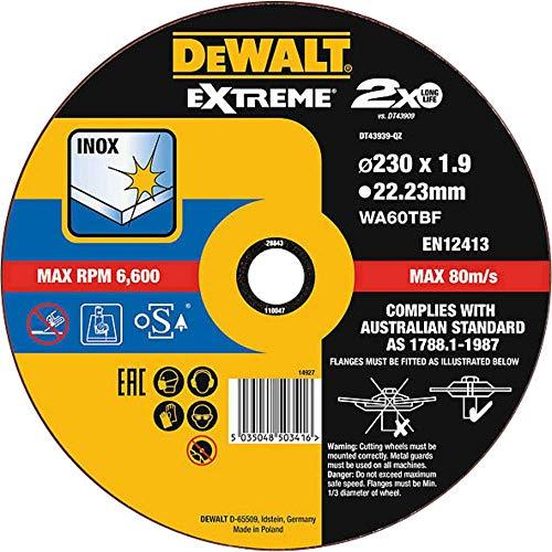 DEWALT DT43939-QZ DT43939-QZ-Disco de Corte Plano Extreme Thin Cut para INOX con Grano Industrial de óxido de Aluminio 230 x 1.9 x 22.23 mm, Schwarz/Gelb