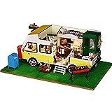 QHWJ Casa de muñecas en Miniatura de Madera, casa de Bricolaje Artesanal producción Creativa de Vacaciones de Ocio Modelo de casa pequeña montada de Juguete Modelo de Coche de Regalo