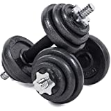 TILZ GEAR Adjustable Dumbbell Set Cast Iron Spinlock Hand Dumbbell Weight Set With Black Carry Case Perfect for Weight Lifting Barbell Bench Press Exercise Fitness (20KG)