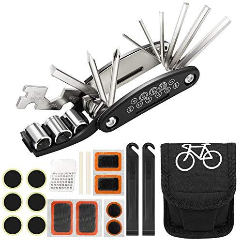 Homealexa Kit Reparación Herramientas Bicicleta 16 en 1 Herramienta multifunción, con Kit de Parche y palancas para neumáticos,Herramienta Bici Multifunción Portátil Compacta