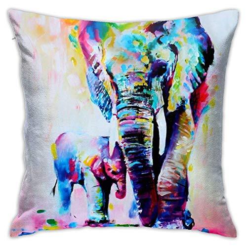 asdew987 Funda de almohada cuadrada de 45,72 x 45,72 cm, diseño vintage abstracto, colorido de elefantes indios, para sala de estar, sofá o dormitorio