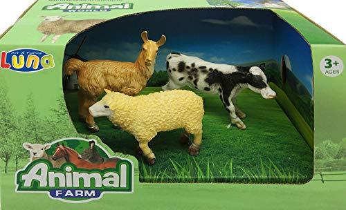 Tierfiguren-Set Bauernhof 3-TLG. Spielfiguren mit Schaf Lama Hausrind +3J