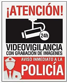 Pegatina-Cartel disuasorio alarma 15 x 19cm Atencion alarma conectada videovigilancia con grabación de imágenes. Uso exterior Pegatina identificativo aviso inmediato policia (1 Pegatina)