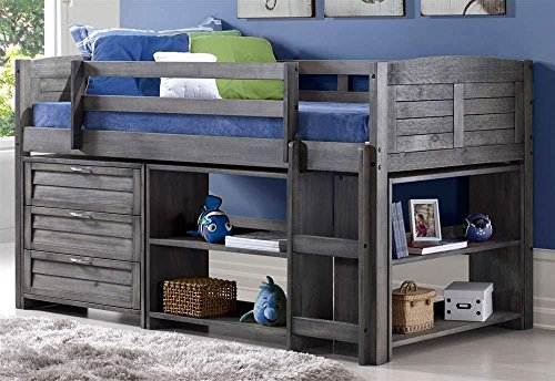 Donco Kids Louver Bed Twin/Antique Grey/W/3 Drawer Chest, Large Bookcase and Small Bookcase