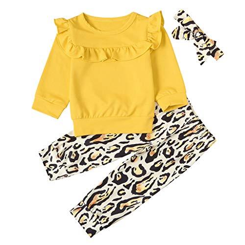 Moneycom❤Toddler Kids Baby Girls Ruffle Shirt Tops Leopard Print Pants Hairband Outfits Jaune(18-24 Mois)