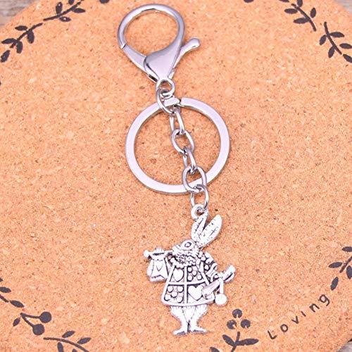 WANGWL Mode Silber Farbe Legierung Metall Anhänger musikalische Kaninchen Trompete Schlüsselanhänger Schlüsselanhänger Geschenk für Auto Keychain Zubehör