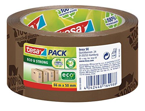 tesapack Eco und Strong - Umweltschonendes Paketband aus 100 Prozent recyceltem Kunststoff, UV- und alterungsbeständig - Braun bedruckt - 66 m x 50 mm