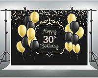 ZPCハッピー30歳の誕生日の黒の写真の写真の背景の男性の風船とゴールドドットの背景7X5FT 30歳30歳の誕生日の写真の小道具パーティーの好意G1L2009
