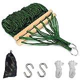 Feelava Hamaca de cuerda de algodón, hamaca de red para deportes al aire libre, hamaca colgante con palo de madera, 2 ganchos en S + 2 cuerdas + 1 bolsa de almacenamiento para patio, playa, camping