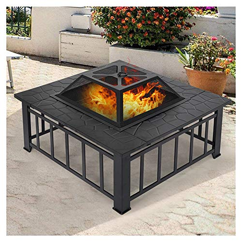 Outdoor Fire Pit - 32 Inch Bonfire Wood Burning Patio & Backyard Firepit for Outside,Square Fireplace Cover, Firepit Metal Backyard Patio Garden Stove Fireplace With Poker,Black