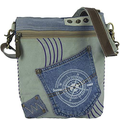 Sunsa Damen Taschen Umhängetasche Handtasche Canvas mit Jeans & Leder. Kleine Vintage Crossbody Tasche/bag Schultertasche, Geschenkideen für Frauen/Mädchen nachhaltige Produkte 52448