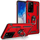 Compatible with Samsung Galaxy S30 Ultra Case Military Grade. Drop Tested Dual Layered Heavy Duty Cover with Magnetic Ring Kickstand Car Mount Holder Protective Case for Galaxy S30 Ultra (Red)