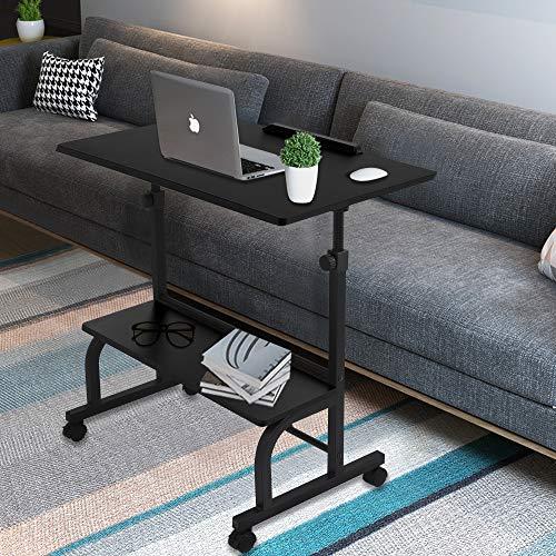 Mesa de ordenador portátil con ruedas, ángulo ajustable, con estantería