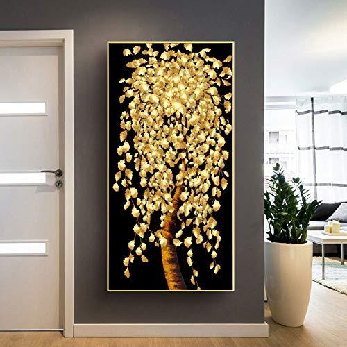 KWzEQ Abstrakte Blattgold- und Geldbaumölgemäldeplakatwohnzimmerdekorationswandkunst auf Leinwand,Rahmenlose Malerei,75x150cm