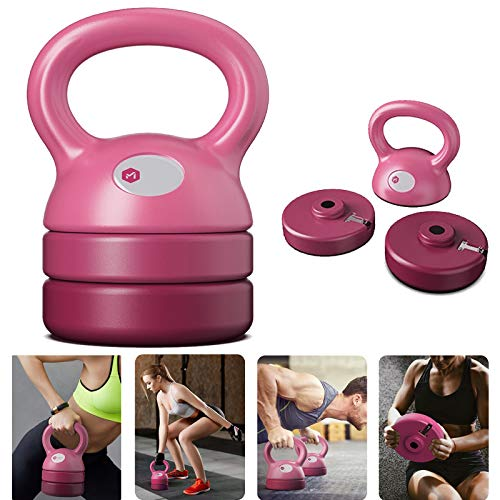 Yinguo Adjustable Detachable Kettlebell Weight Sets, 5lb 8lb 9lb 12lb Kettle Bell Weight for Women Men Full Body Home Gym Fitness Cross Training, Free Weight, Weightlifting, Strength Training (Pink)