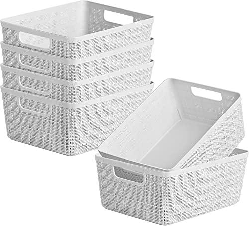 DVEDA - Juego de 6 cestas de almacenamiento de plástico, portátil, caja de almacenamiento de oficina, cesta de almacenamiento de cocina, 9 x 7 x 4.1' (gris)