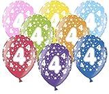 Libetui 10 kunterbunte Luftballons Metallic 30cm Deko zum Geburtstag Party Kindergeburtstag Happy Birthday Dekoration Zahl 4
